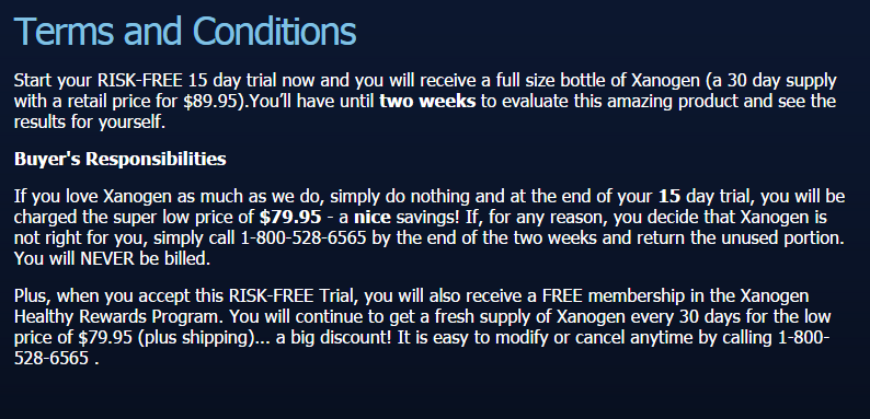 xanogen free trial terms and conditions