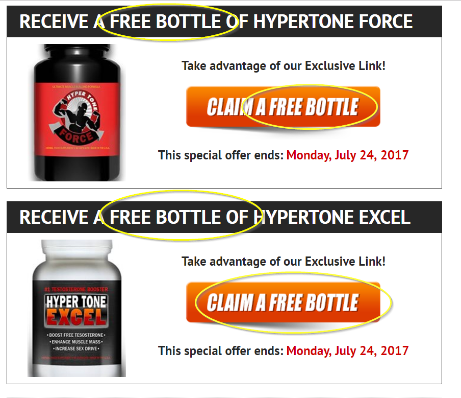 Hyper tone Force and Hyper tone Excel Free Bottle Links
